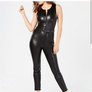 NWT GUESS Sandra Moto Faux-leather Jumpsuit 4